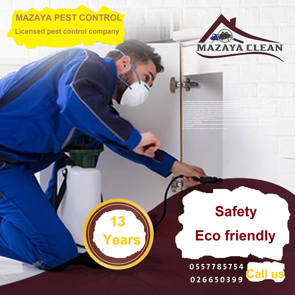 To obtain a pest control license in Abu Dhabi, there are a set of procedures and steps that you must follow. First, obtaining a trade name for a pest control company from the competent authorities in Abu Dhabi. Second, obtaining a trade license from the Department of Economic Development in Abu Dhabi, and registering with the membership of the Abu Dhabi Chamber of Commerce and Industry. Third: Submit an application to obtain a license to practice pest control from the Center of Waste Management in Abu Dhabi (Tadweer), which requires some conditions for practicing the profession of pest control. Among these requirements is the presence of a store and a known address for the pest control company, and the provision of a store for storing pesticides, pest control equipment and tools, and there must be some factors related to safety and health in the store. Providing an agricultural engineer specialized in pest control licensed and certified by the Abu Dhabi Center for Quality and Conformity. Provide at least 2 licensed and certified pest control technicians from the Abu Dhabi Quality and Conformity Center in Abu Dhabi. Providing a vehicle equipped to practice pest control.