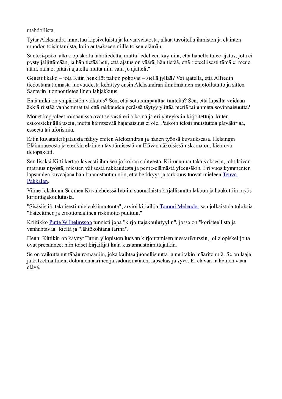 Kritiikki Hesari 24.6.2014 Henni Kitti '