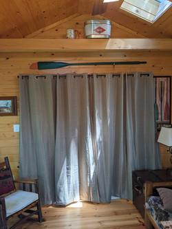 Curtains on Sunset Room sliding door closed