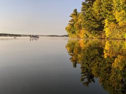 Fishing amid fall colors
