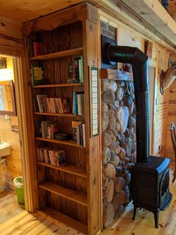 Bookshelves and gas heat stove