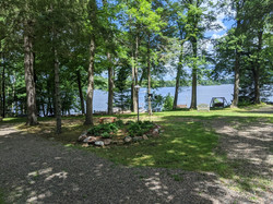 View of lake from driveway to Oak Cabin