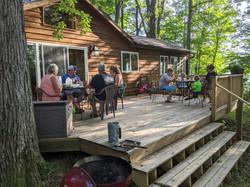 Dinner on the deck of Oak Cabin