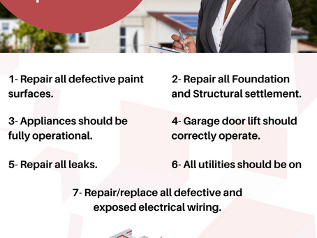 What repairs you need for FHA Appraisal Inspection