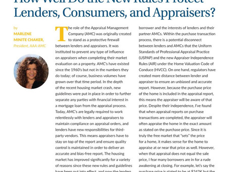 How Well Do the New Rules Protect Lenders, Consumers, and Appraisers?