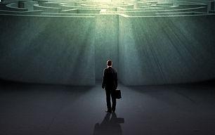 Successful businessman standing near the
