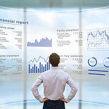 Businessman analyzing financial report d