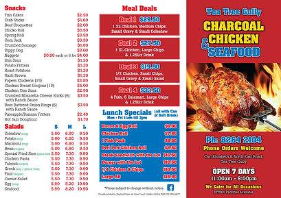 Tea Tree Gully Chicken & Seafood A4 dl m