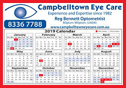 Campbelltown Eye Care Calendar 2019 no t