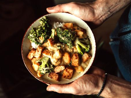 thai red broccoli, tofu & coconut curry