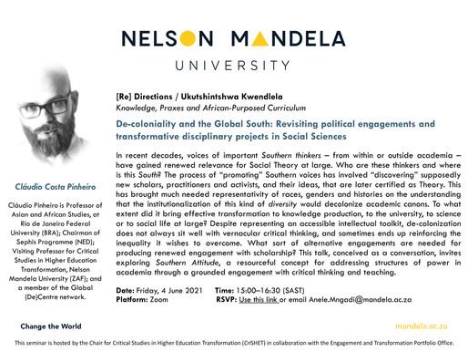 SEMINAR: De-coloniality and the Global South - Cláudio Pinheiro