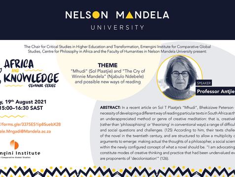 NEWS: Africa & Knowledge Seminar - Antjie Krog on possible news ways of reading