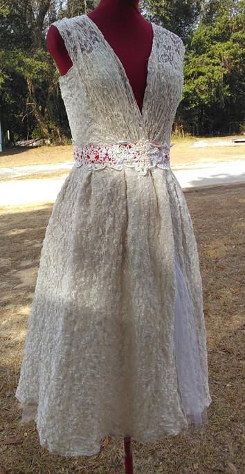 Lace, cotton, beading