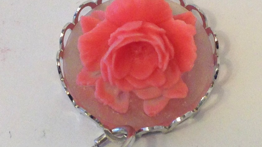 Pink Rose on Clear Mini Cameo