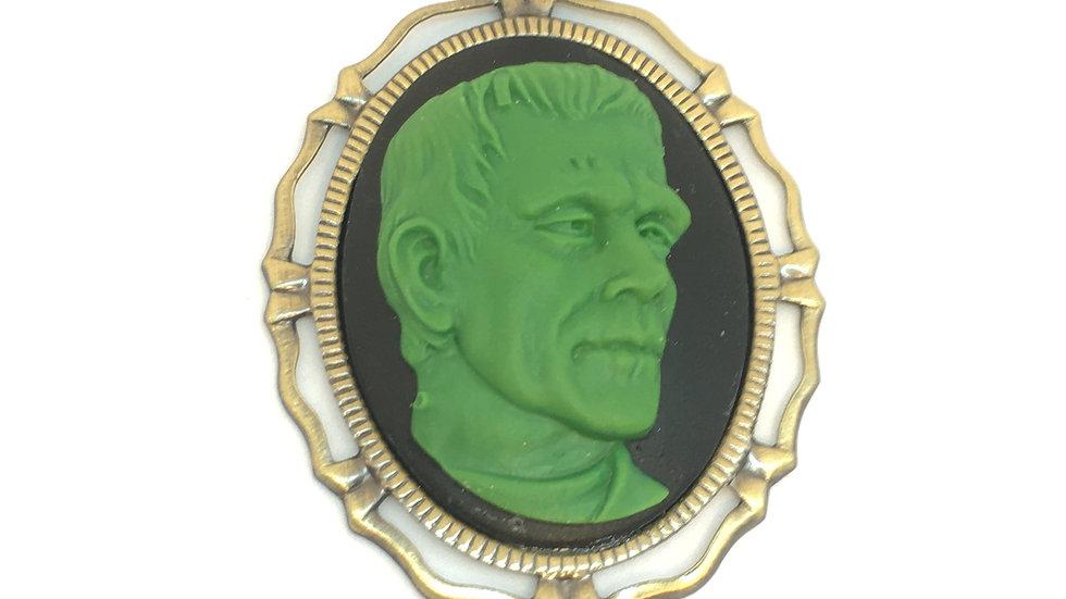 Green Frankenstein Cameo (brass setting)
