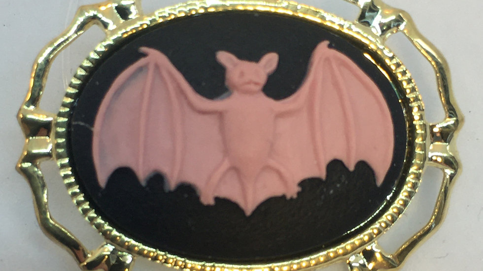 Mini Pink Bat on Black Cameo Pin