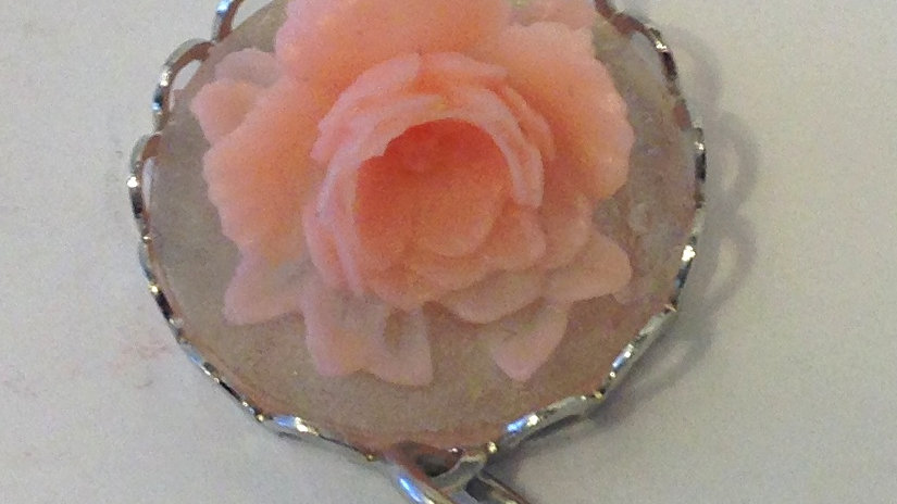 Light Pink Rose on Clear Mini Cameo