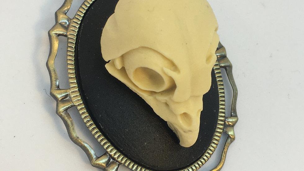 Owl Skull Cameo (brass setting)