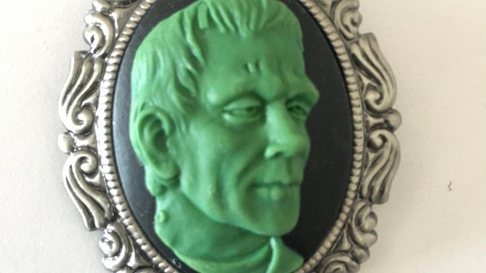Green Frankenstein on Black Cameo