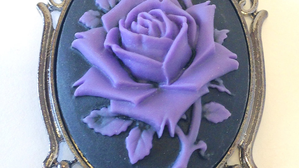 Purple Rose on Black Cameo