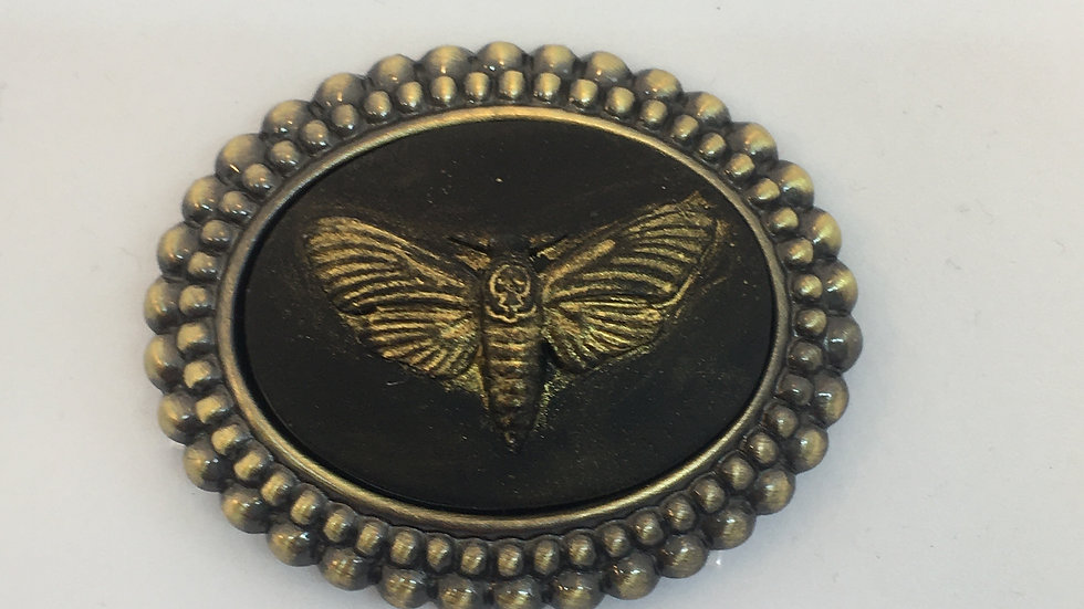 Death Head Moth Cameo (Gold with brass setting)