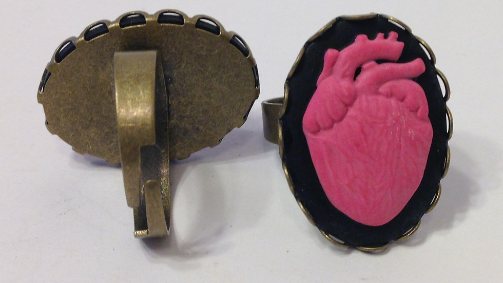 Pink Anatomical Heart Ring
