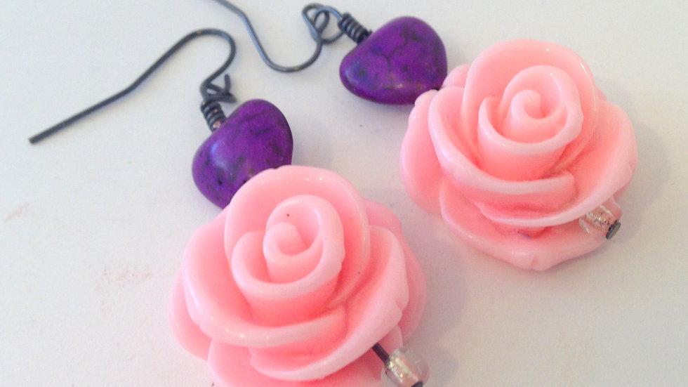 Pink Rose + Purple Heart Earring