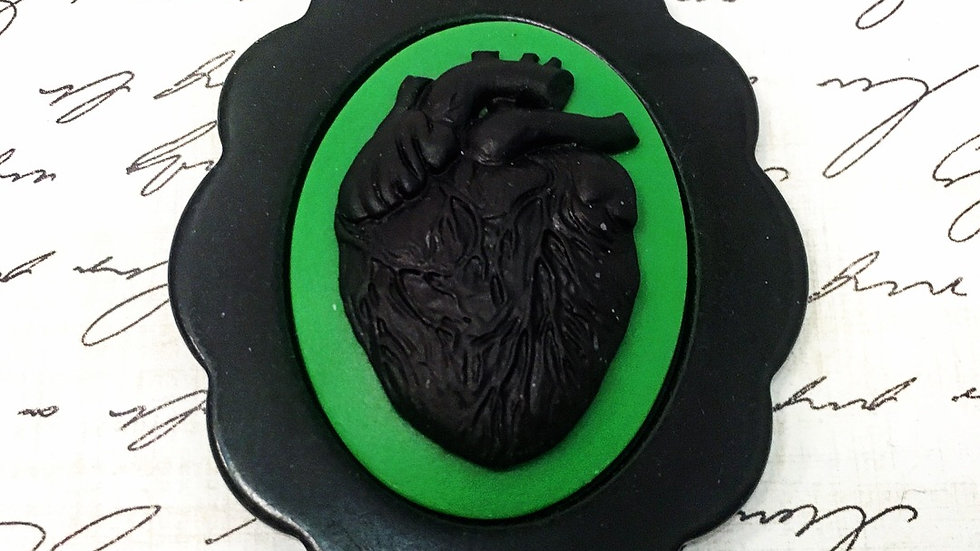 Black Anatomical Heart on Green Cameo