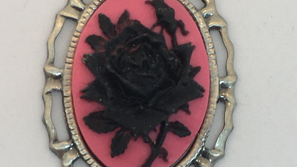 Mini Black Rose on Hot Pink Cameo