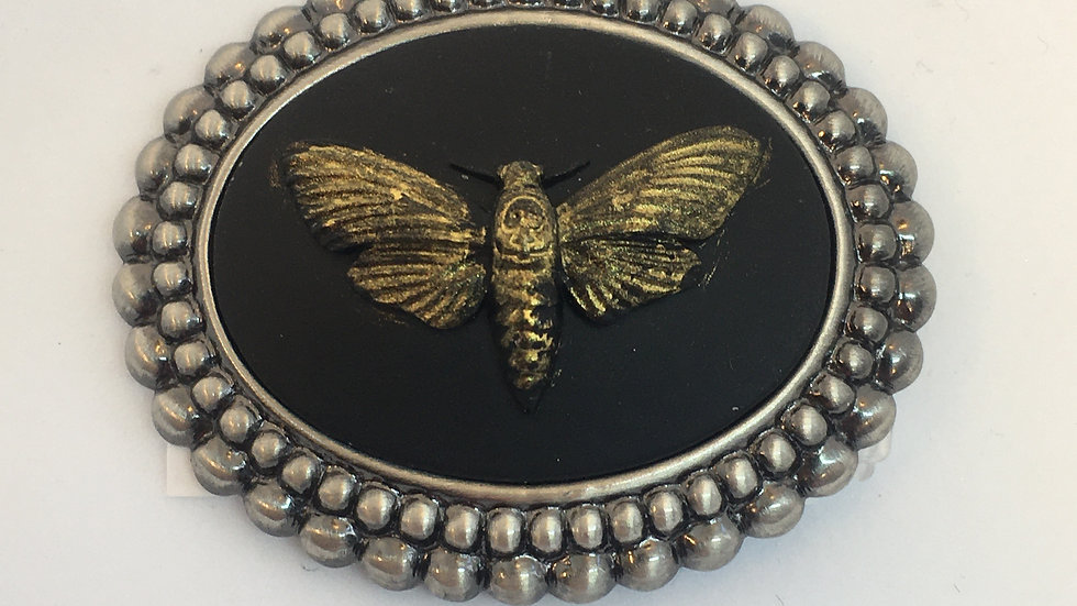 Death Head Moth Cameo (gold on silver setting)