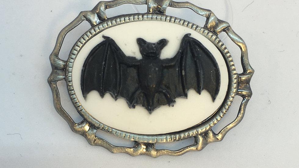 Mini Black Bat on White Cameo