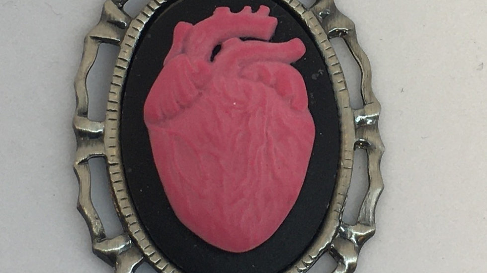 Mini Pink Anatomical Heart Cameo