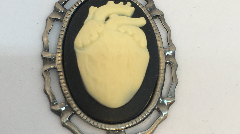 Mini Creme Anatomical Heart Cameo with Ribbon