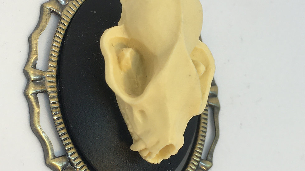 Bat Skull Cameo (brass setting)