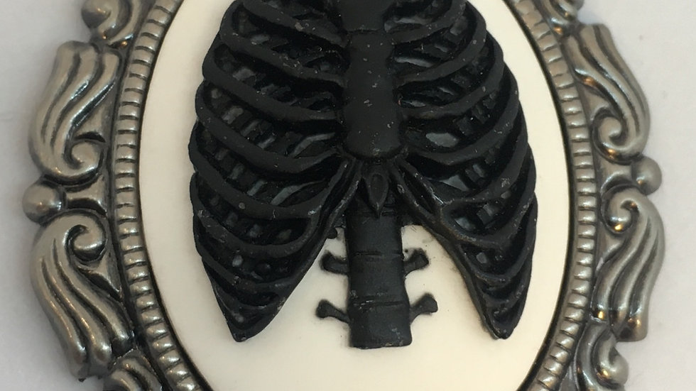 Black Ribcage on White Cameo with Ribbon
