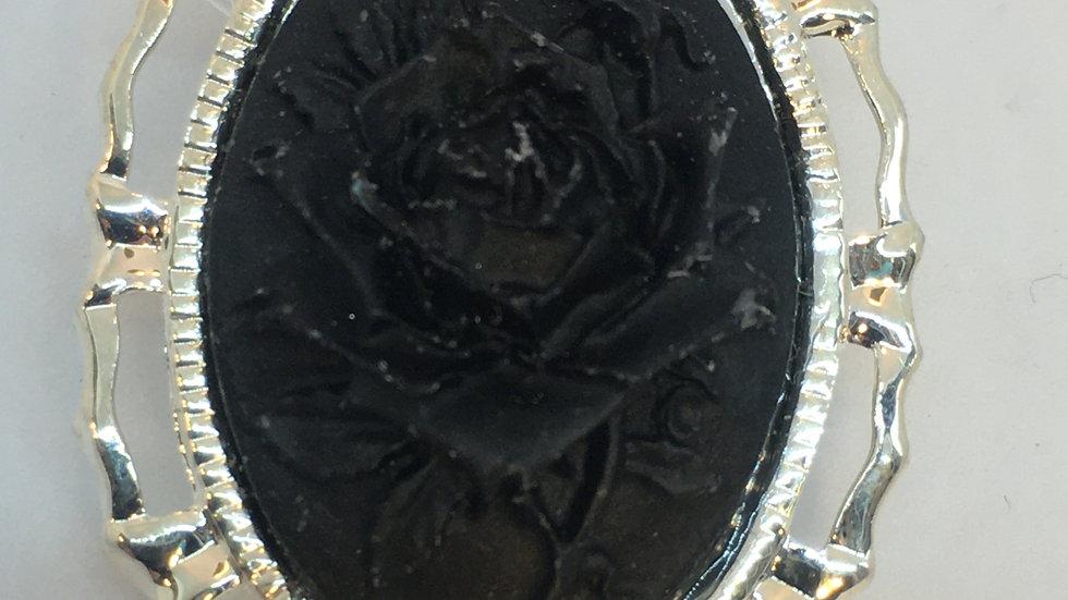 Mini Black Rose Cameo Pin (bright silver)