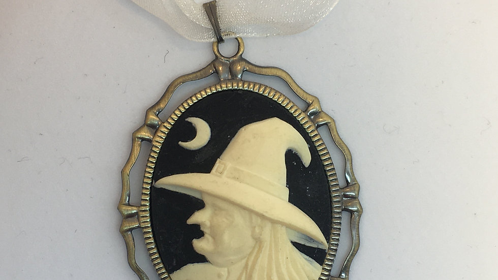Witch Cameo on White Ribbon