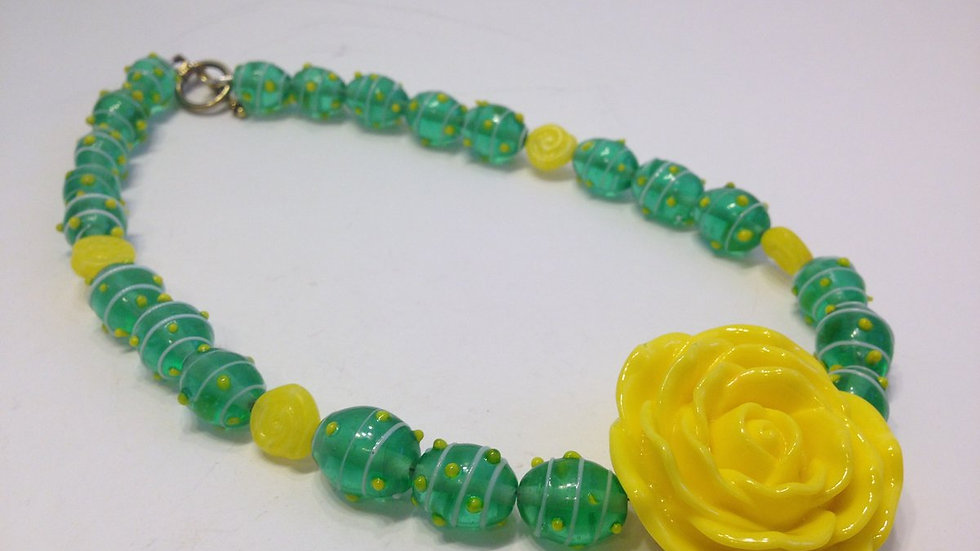 Yellow  Rose & Green Necklace