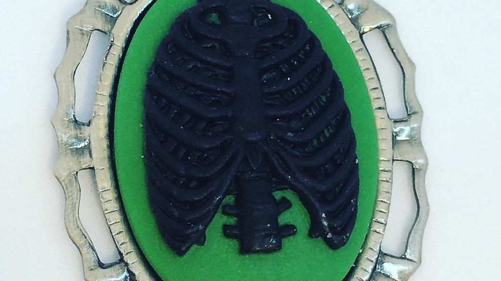 Mini Ribcage Cameo on Green