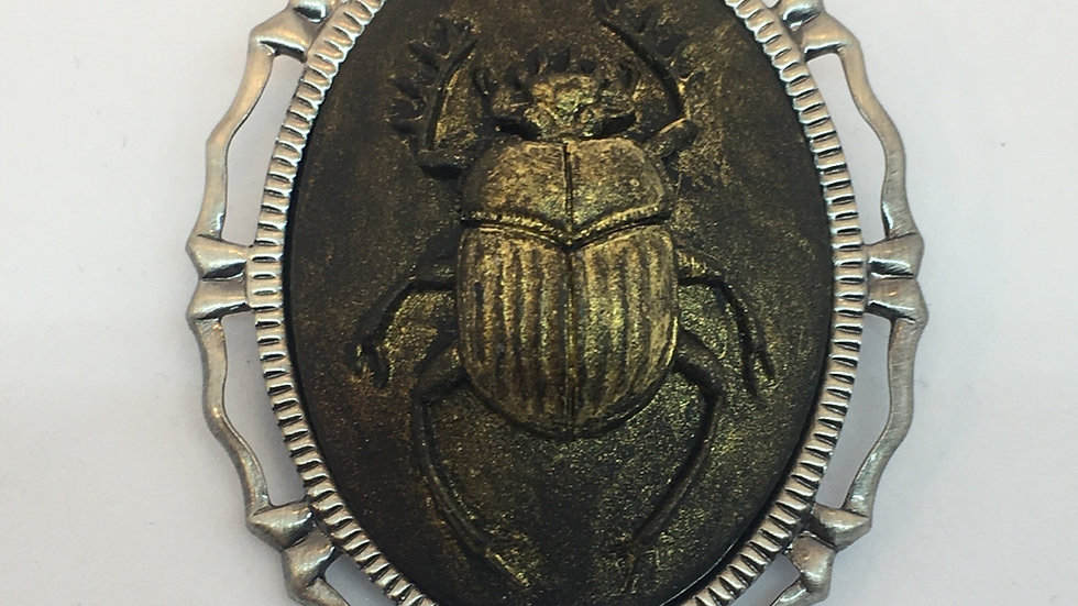 Gold Scarab Cameo (silver setting)