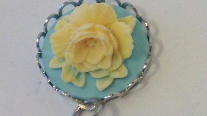 Cream Rose on Light Blue Mini Cameo
