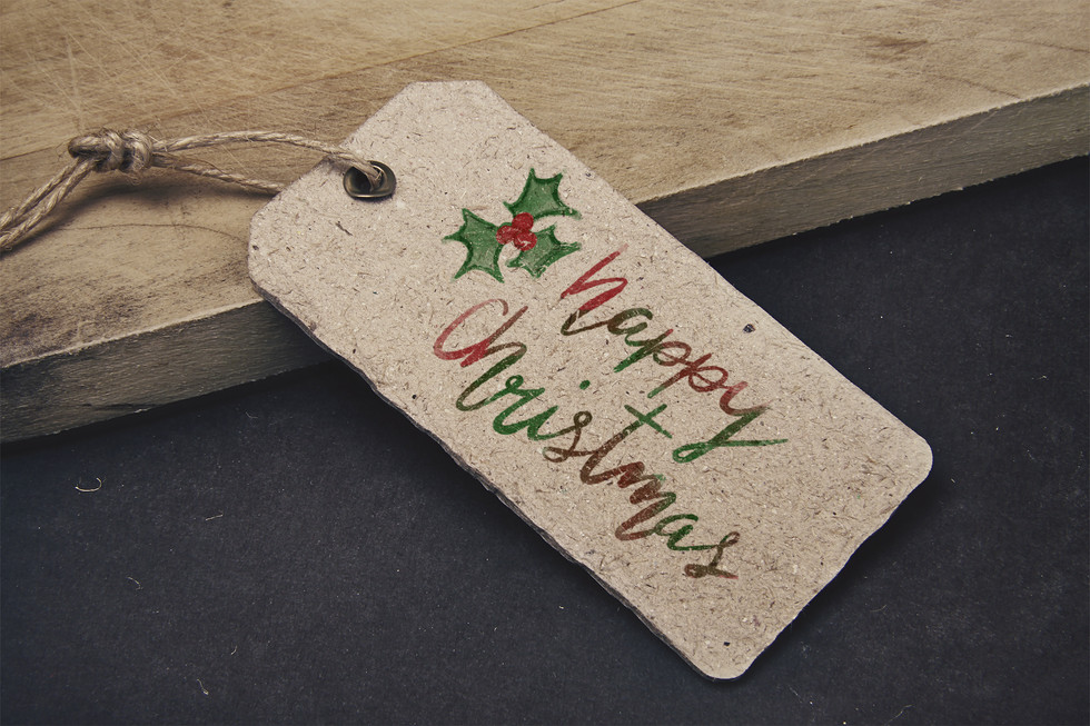Hand-lettered Christmas tags