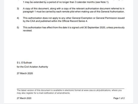 CAA Extend PfCO validity