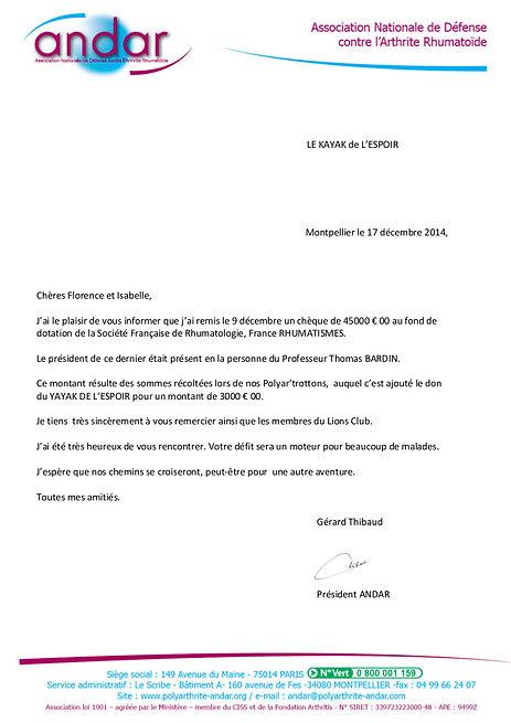 Courrier G. THIBAULT remise du don Corse