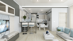 Modern nappali - étkező - konyha - Siófok, Aranypart