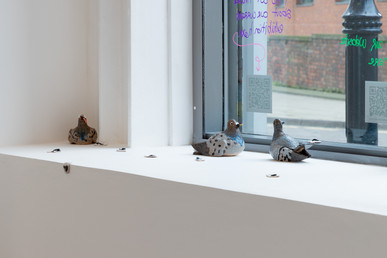 Pigeons: Penny, Patrick and Pietra (2020), dimensions variable, glazed ceramic. Image courtesy Jules Lister