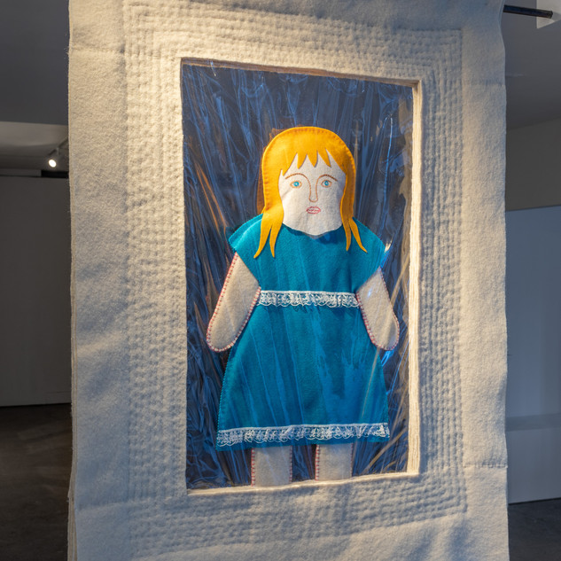Do Be Careful… (2020), 90 x 120 x 4 cm, british wool, PVC, felt, wool and silk tops, water soluble fabric.Image courtesy Jules Lister.