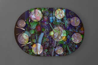 What's Eating Paradox (2020), dimensions variable, projection mapping onto found table.Image courtesy Jules Lister