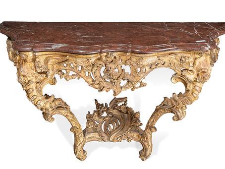Magnifique console en bois doré d'Epoque Louis XV