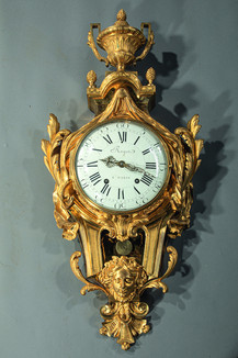 Cartel en bronze doré d'époque Louis XVI